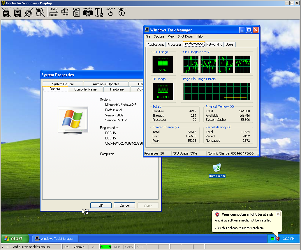 Bochs With 2 CPUs And HT Running Windows XP